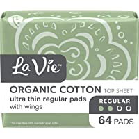 La Vie Organic Cotton Top Sheet* Feminine Pads with Wings, Ultra Thin, Regular, 64 Count (2 bags of 32)