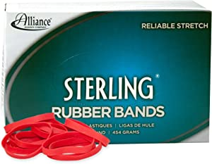 """Alliance Rubber 94645 Sterling Rubber Bands Size #64, 1 lb Box Contains Approx. 380 Bands (3 1/2"""" x 1/4"""", Red)"""