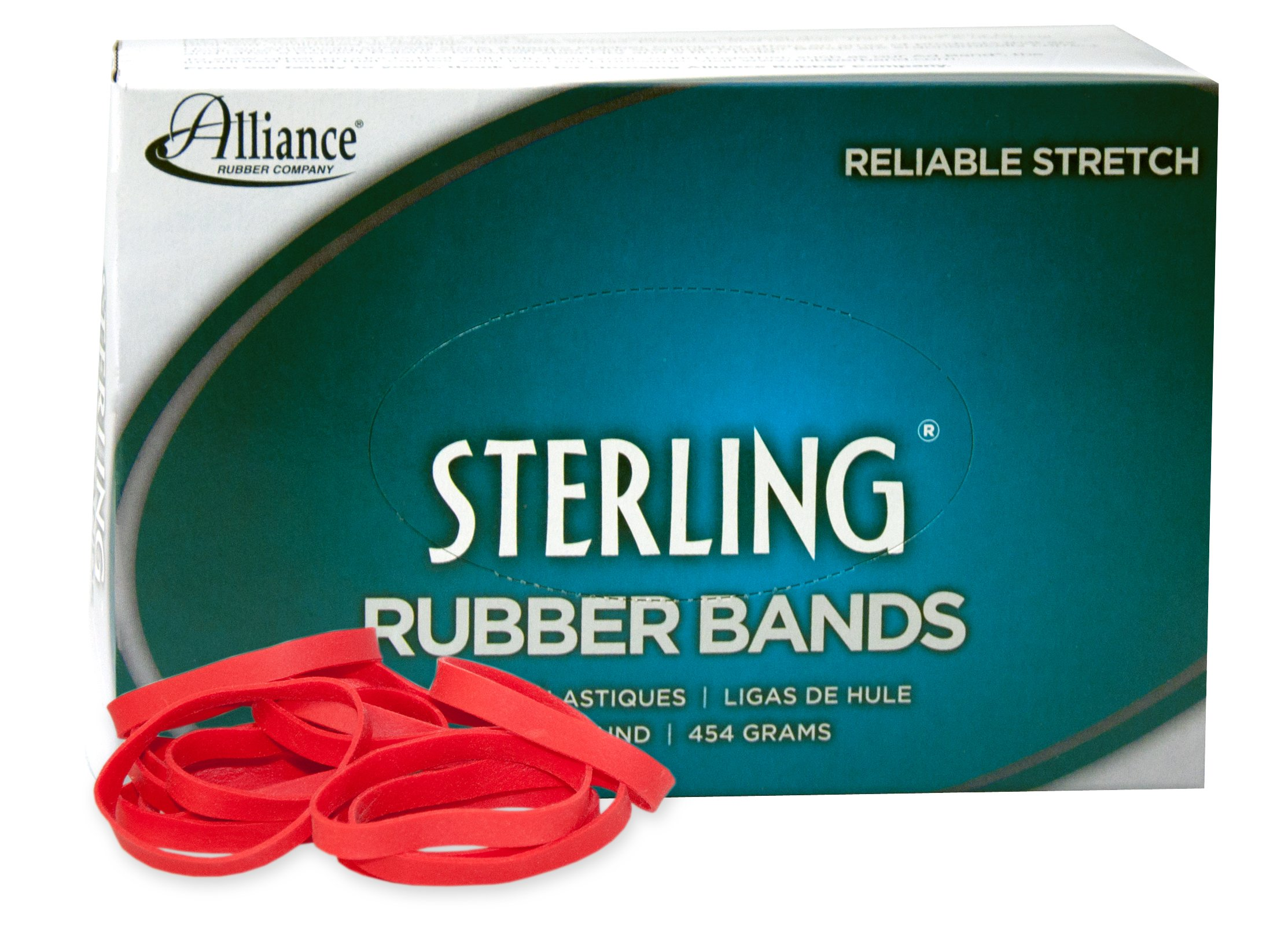 Alliance Rubber 94645 Sterling Rubber Bands Size #64, 1 lb Box Contains Approx. 425 Bands (3 1/2'' x 1/4'', Red)