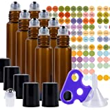 Ultimate Essential Oil Roller Bottles Set with Stainless Steel Balls, 8 Pack 10ml Dark Amber Leakproof Glass Bottle with…