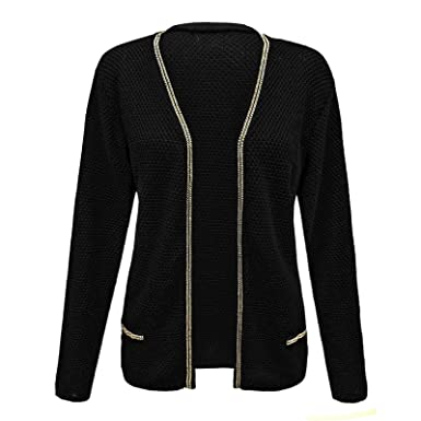3b75f6c6d81 ENVY BOUTIQUE NEW LADIES WOMENS WOOD KNITTED GOLD CHAIN DETAIL SWEATER  CROCHET TOP CARDIGAN BLACK 12  Amazon.co.uk  Clothing