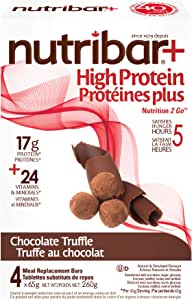 Nutribar Original Nutribar+ High protein meal Replacement Bars, Chocolate Truffle, 4 Bars 4 count