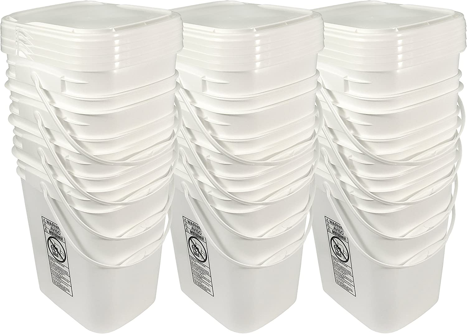 5.3 Gallon White Rectangular Bucket/Pail with Hinged Snap Lid, 12 Pack