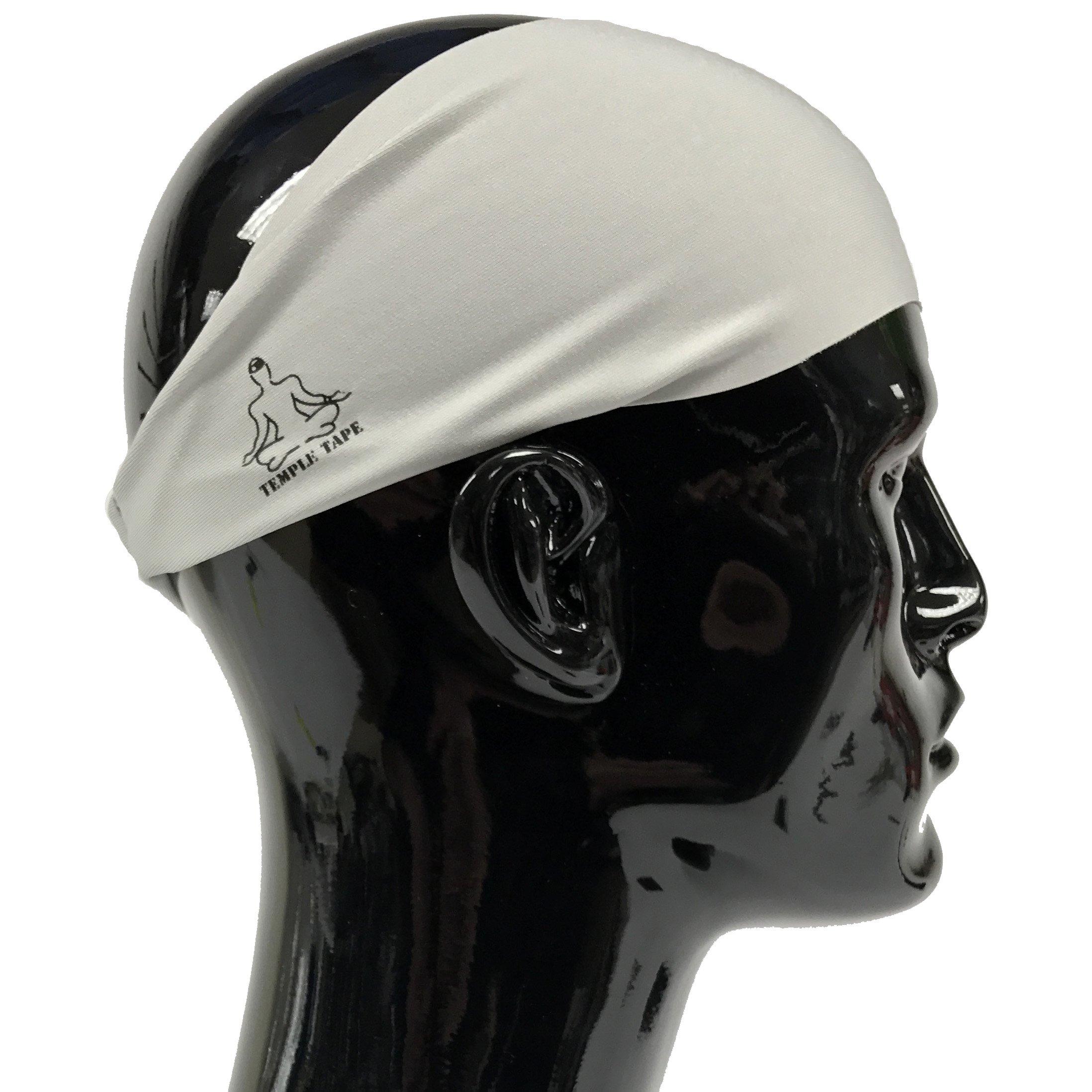 Temple Tape Headbands for Men and Women - Mens Sweatband & Sports Headband Moisture Wicking Workout Sweatbands for Running, Cross Training, Yoga and Bike Helmet Friendly - Gray