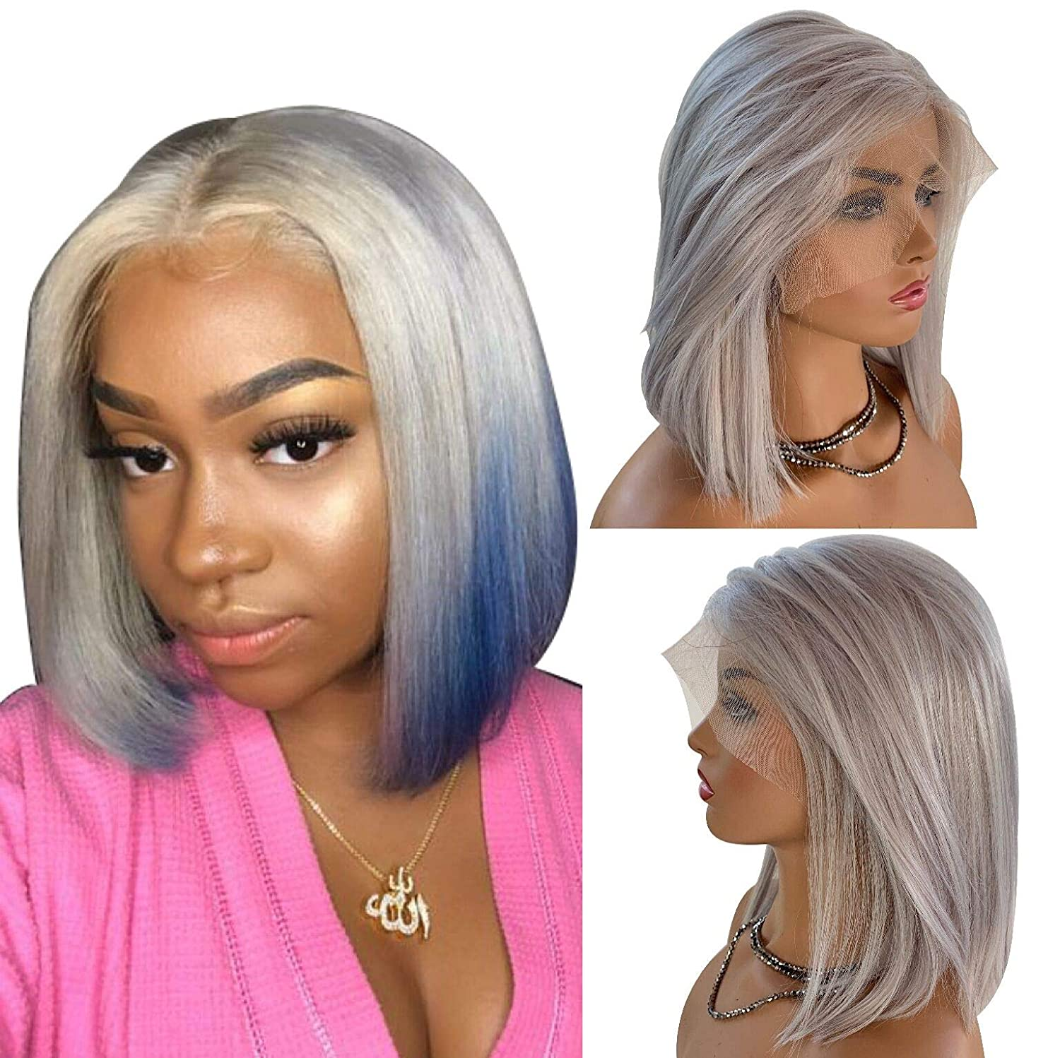 Grey Lace Frontal Wigs 10 inch Human Hair Glueless Wig 13x6 Deeper Hairline Pre Plucked with Baby Hair Bleached Knots Flat End Bob Cut 150% Density Thick and Bouncy for Women