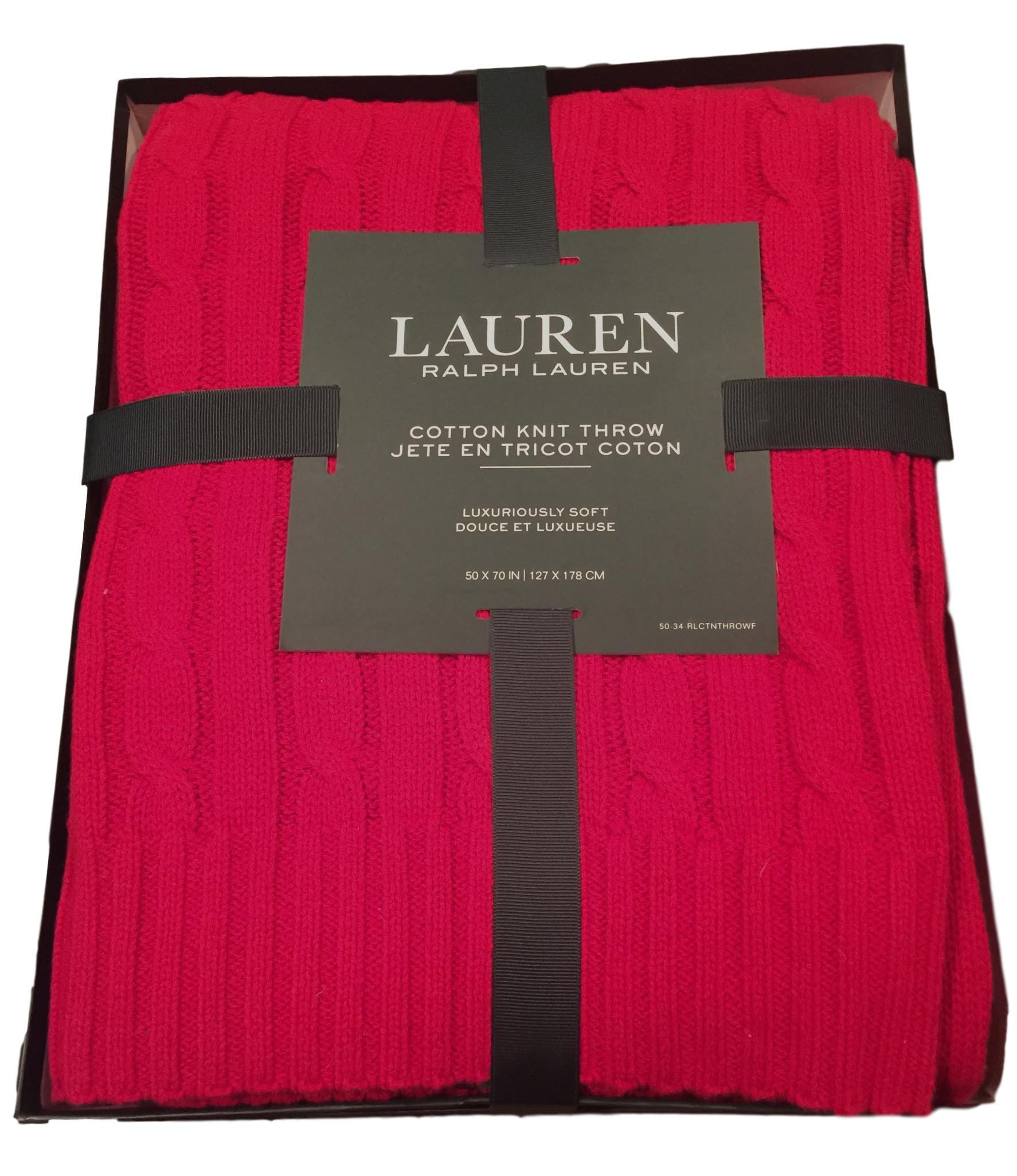 Ralph Lauren Cotton Throw Blanket 50 x 70 Cable Knit Red RL Gift Box