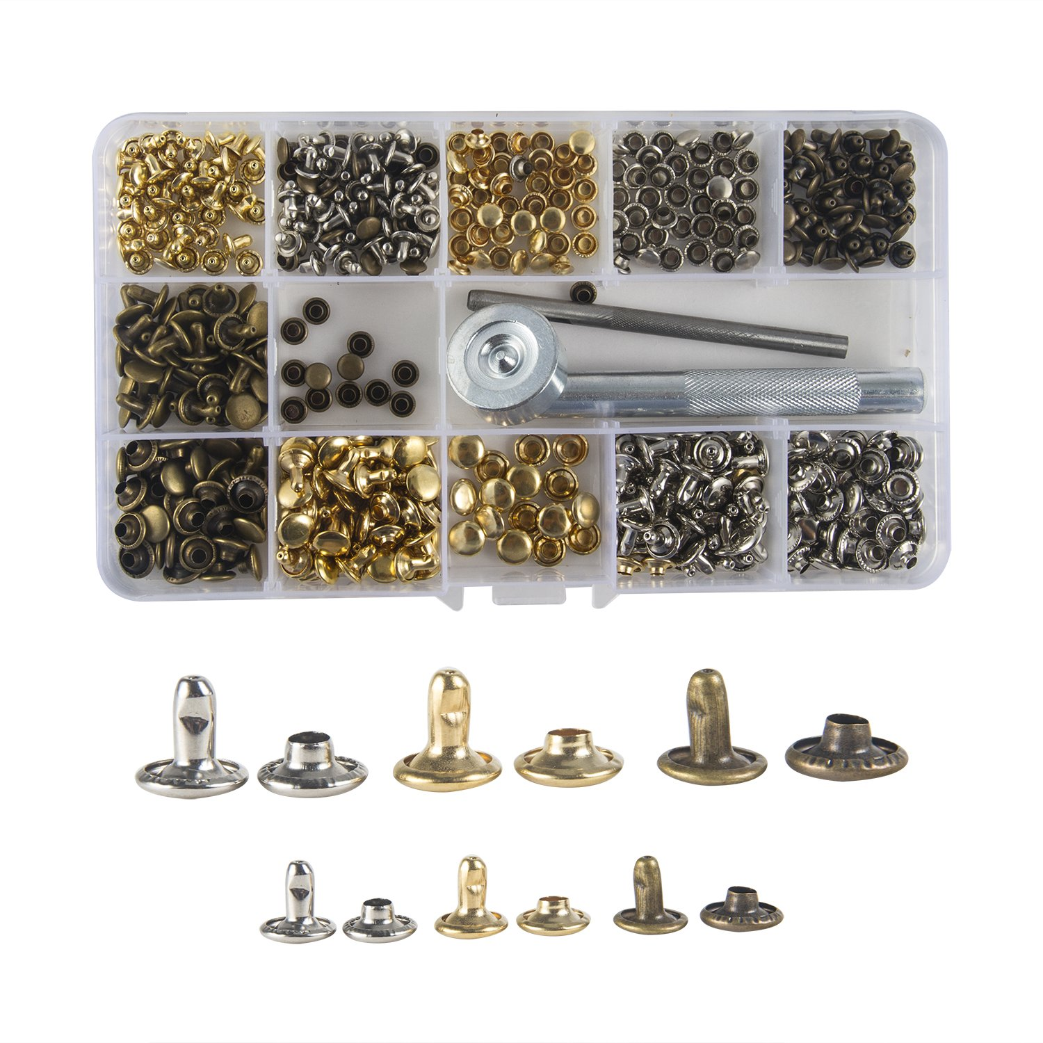 Waloden 240 Set Leather Rivets 3 Sizes Single Cap Rivets Metal Leather Rivets with 3 Pieces Tool Kits for Leather Craft Repairs Decoration LML