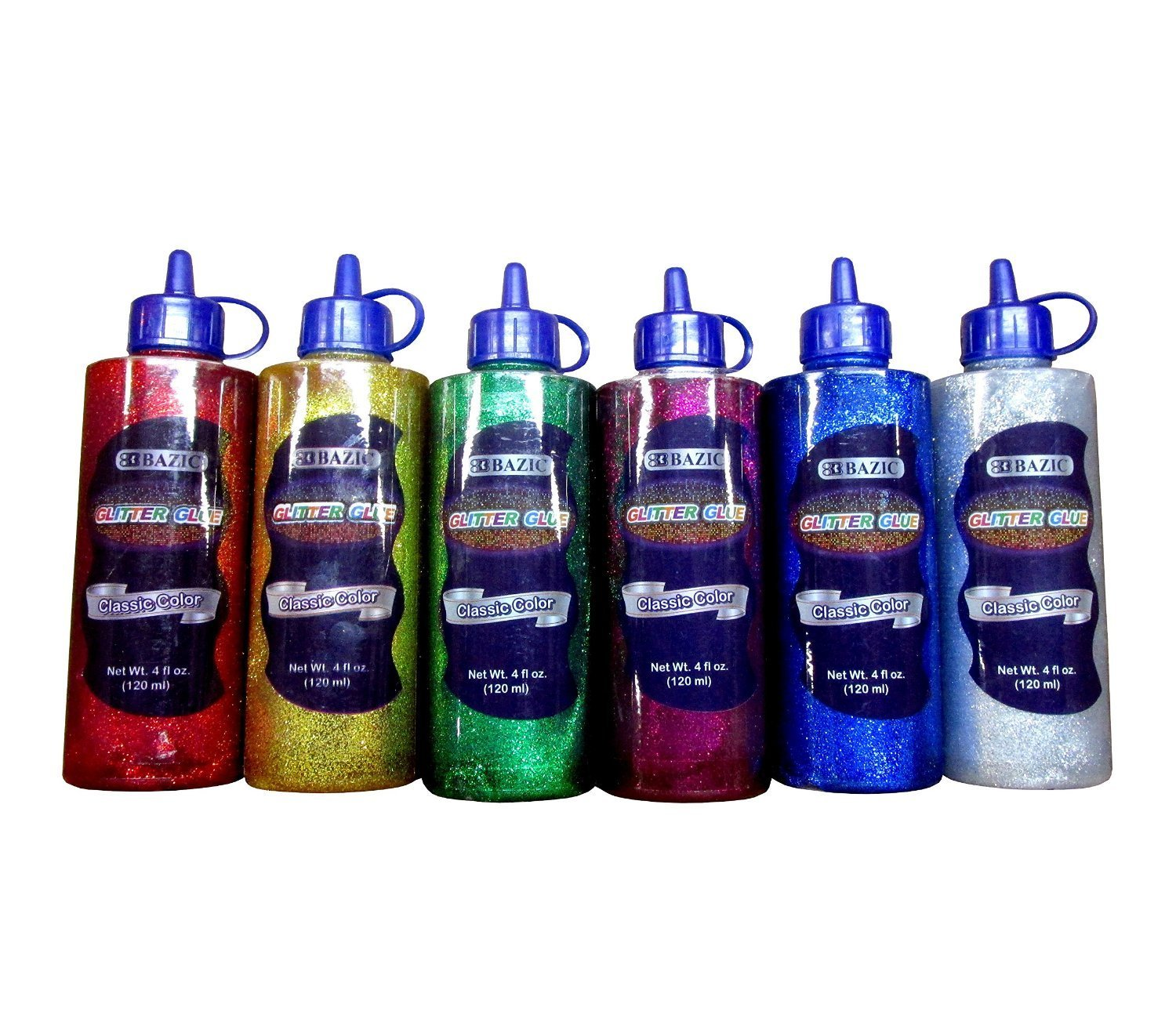 6Pk, Classic Color Glitter Glue 4 Oz. (120 mL) Green, Gold, Red, Silver, Blue, and Purple