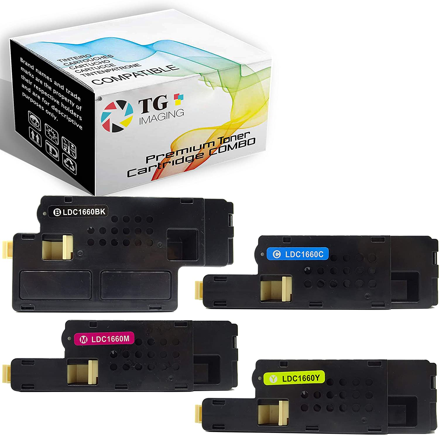 (4 Pack, B+C+Y+M) Compatible Dell 1660 Toner Cartridge C1660w (332-0399 + 332-0400 + 332-0401 + 332-0402) Replacement for C1660w Printer, Sold by TG Imaging