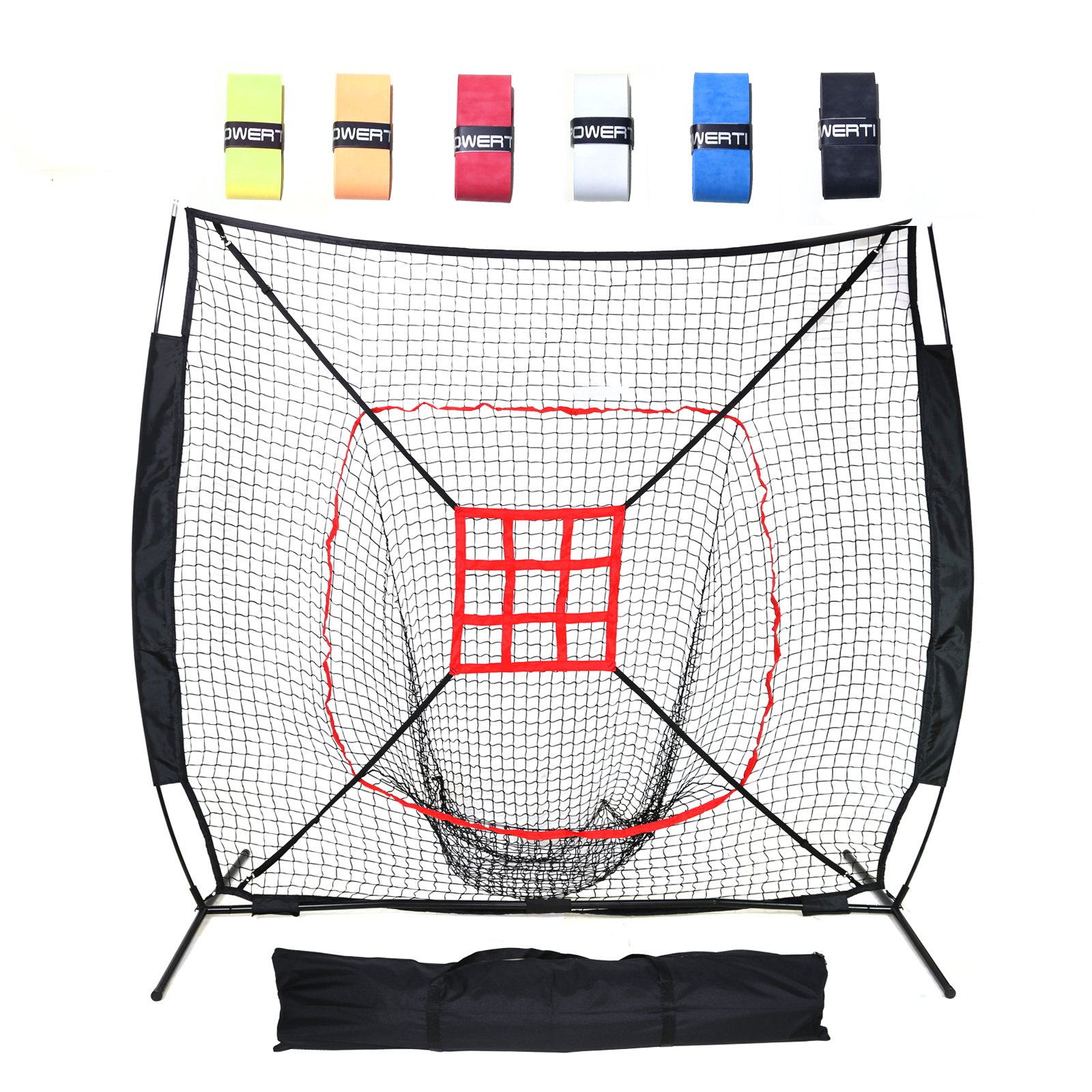 DACTECH 7 x 7 ft Baseball Softball Pitching And Hitting Net Large Mouth Training Aids Backstop with Bonus 6 Bat Grips, Bow Frame, Carry Bag, and Strike Zone