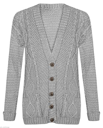 f1d7f9e35cb5b4 New Women s Ladies Long Sleeve Button Top Chunky Aran Cable Knitted Grandad  Cardigan. UK 8