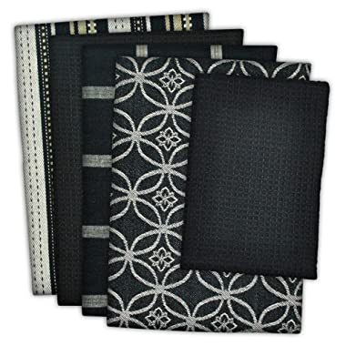 DII Cotton Oversized Kitchen Dish Towels 18 x 28  and Dishcloth 13 x 13 , Set of 5 , Absorbent Washing Drying Dishtowels for Everyday Cooking and Baking-Black