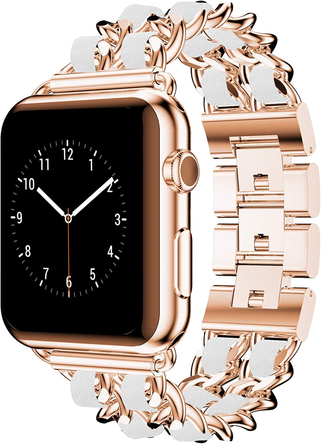 DamonLight Compatible for Apple Watch Band 42mm Women, Jewelry Bracelet Rose Gold Dressy Bling Wristband 44mm iWatch Series 6 5 4 3 2 1 SE