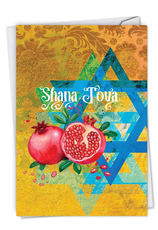 mp-sc-xs-nwbd1 SingleクリスマスNobleworks byデザイン B07BYJG425 Shana Tova Greetings-Star and Pomegranates C6135ARHG
