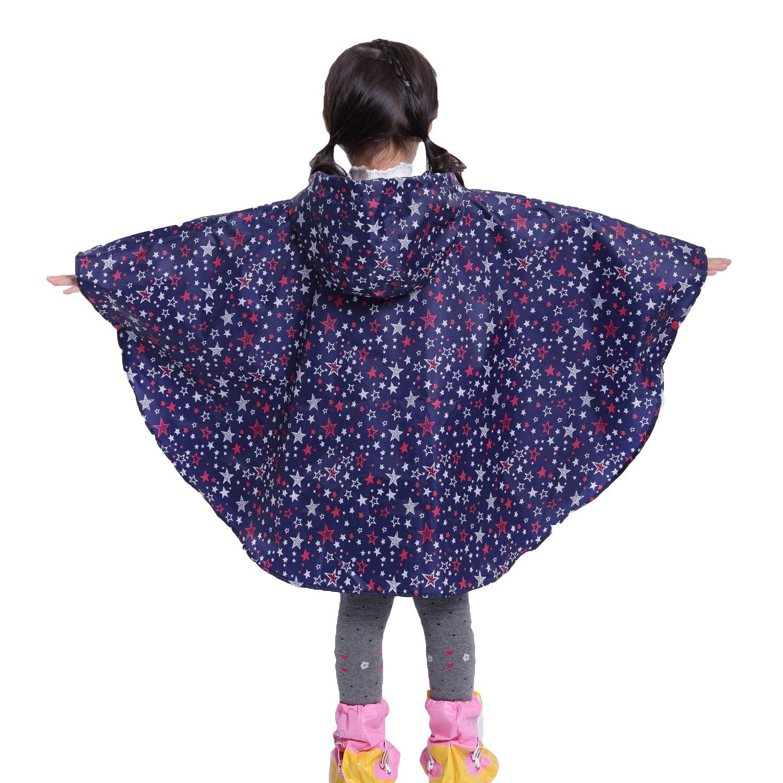 Kids Hooded Waterproof Poncho Unisex Raincoat Children Rainwear Cape with Portable Strorage Bag for 80-160cm