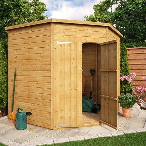 Project Timber Cobertizo de esquina para jardín de madera, sin ventana, 7 x 7