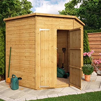 Project Timber 7x7 Windowless Wooden Garden Corner Shed With Double Door  Wooden Corner Shed With Single