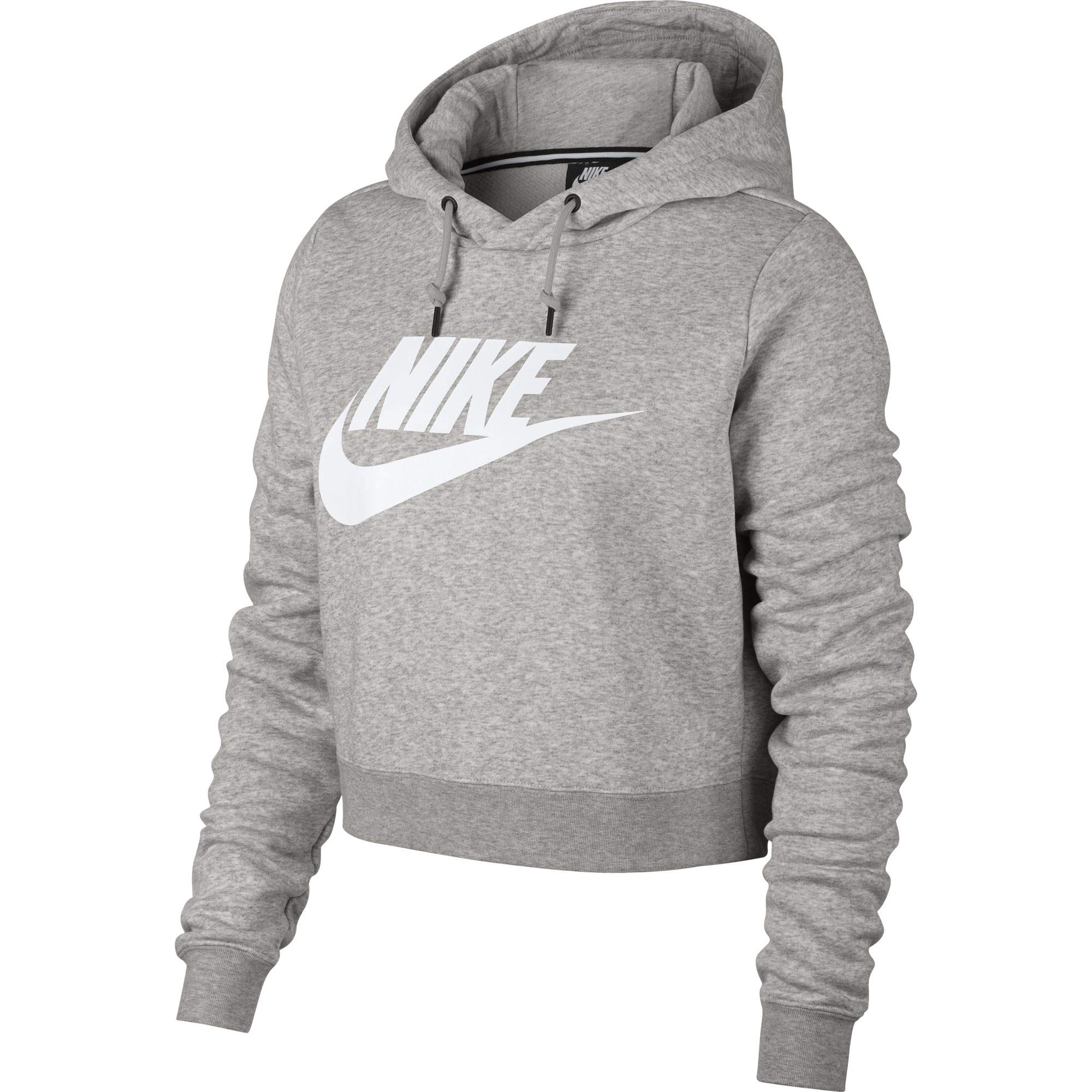 Nike Womens Rally Hoodie Crop Top Sweatshirt Grey Heather/White AQ9965-050-Size Small
