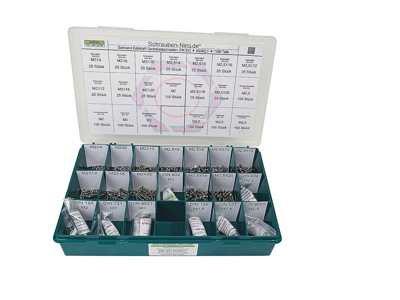 Sortiment M5 + M6 DIN 933 Edelstahl A2 (V2A) Sechskantschrauben mit Gewinde bis Kopf - Set bestehend aus Schrauben, Unterlegscheiben (DIN 125, 127, 9021) und Muttern (DIN 934, 985) - 670 Teile Schrauben-Niro.de