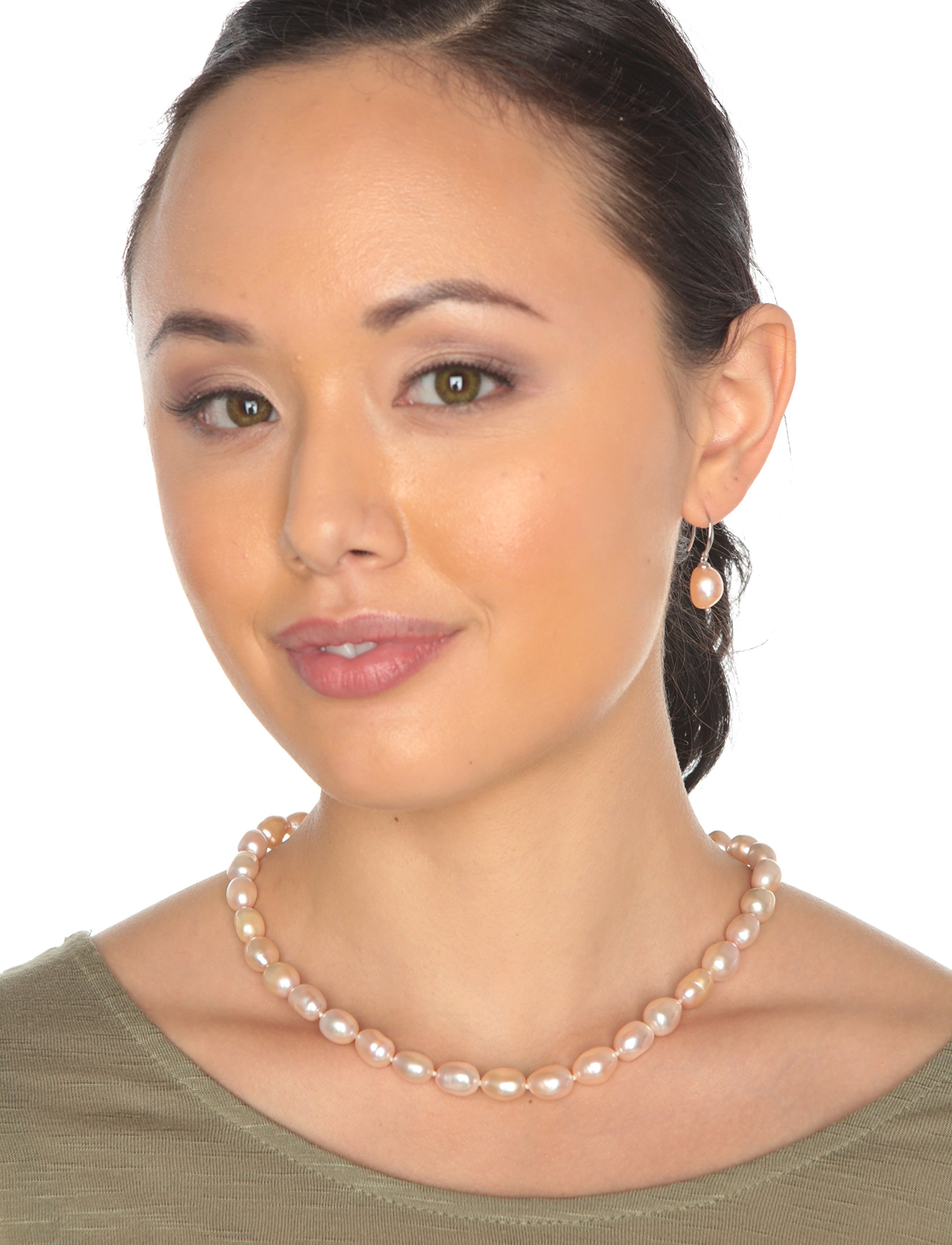HinsonGayle AAA Handpicked 10-11mm Pink Baroque Freshwater Cultured Pearl Necklace (Silver )-18 in length by HinsonGayle Fine Pearl Jewelry (Image #2)