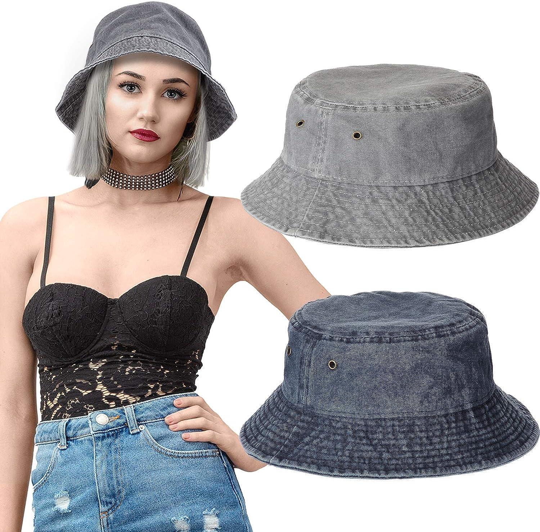 2 Piezas Sombreros de Cubo de Denim de Algodón Lavado Sombrero de Sol de Playa Packable de Viaje para Unisexo