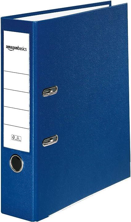 Oferta amazon: AmazonBasics - Archivador de palanca, cubierta de PP, lomo con bolsillo, Certificación FSC, A4, lomo de 80 mm de ancho, azul