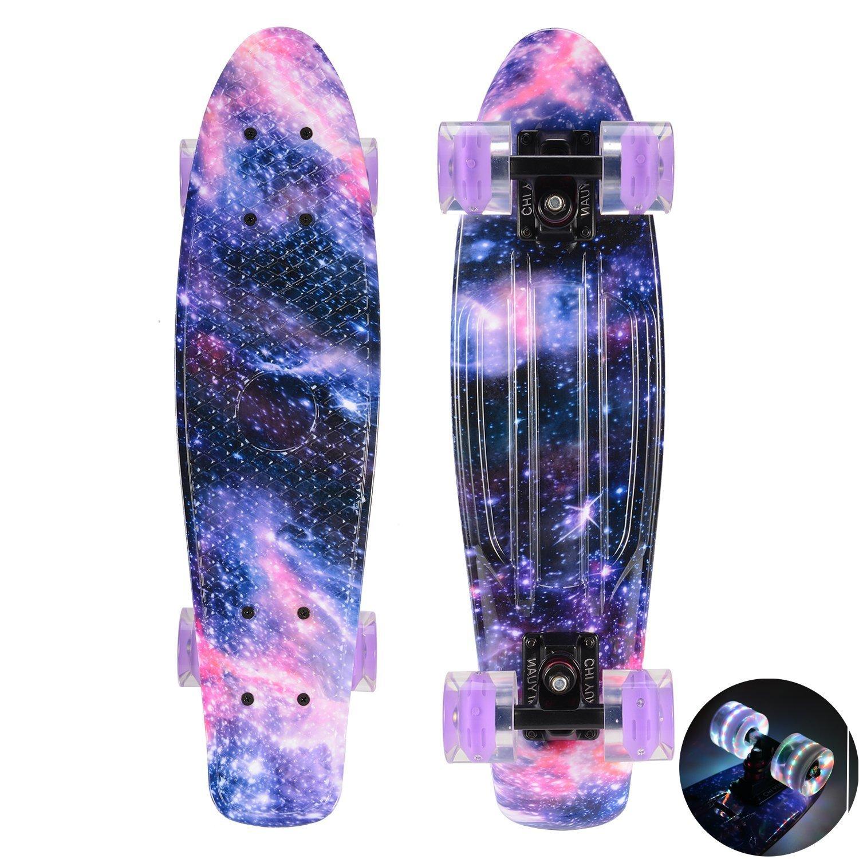 CHI YUAN 22 Inch Cruiser Skateboard Urban Cruiser Complete Graphic Galaxy Dream Starry