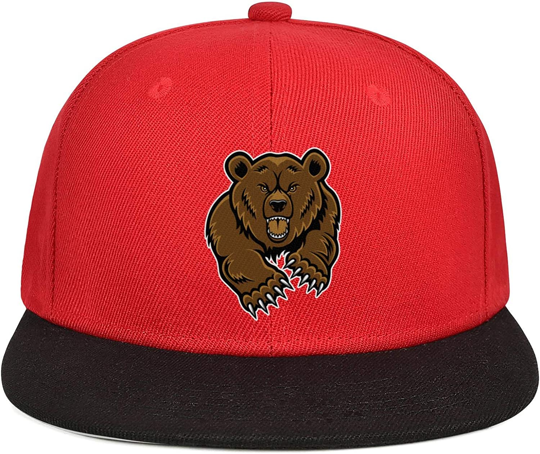 KYTKYTT Mens Womens Mesh Baseball Caps Angry Bear Cartoon Snapback Brim Hat