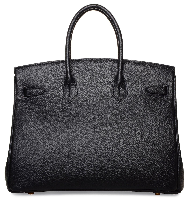 Cherish Kiss Women's Classic Genuine Leather Tote Padlock Handbags H35 (35CM, Black) by Cherish Kiss (Image #4)
