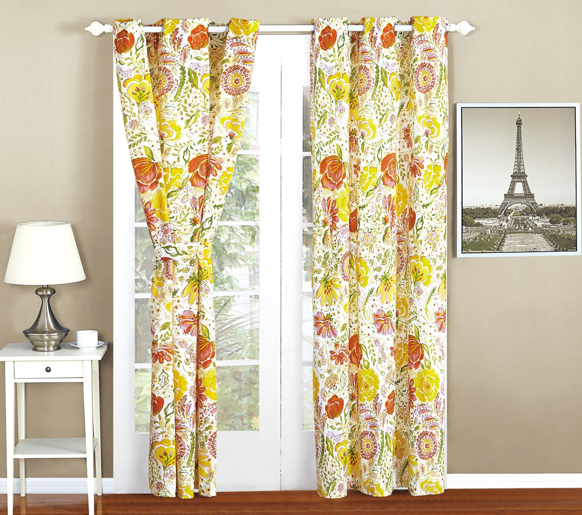All American Collection New 4pc Printed Curtain Set For Reversible Bedspread Set