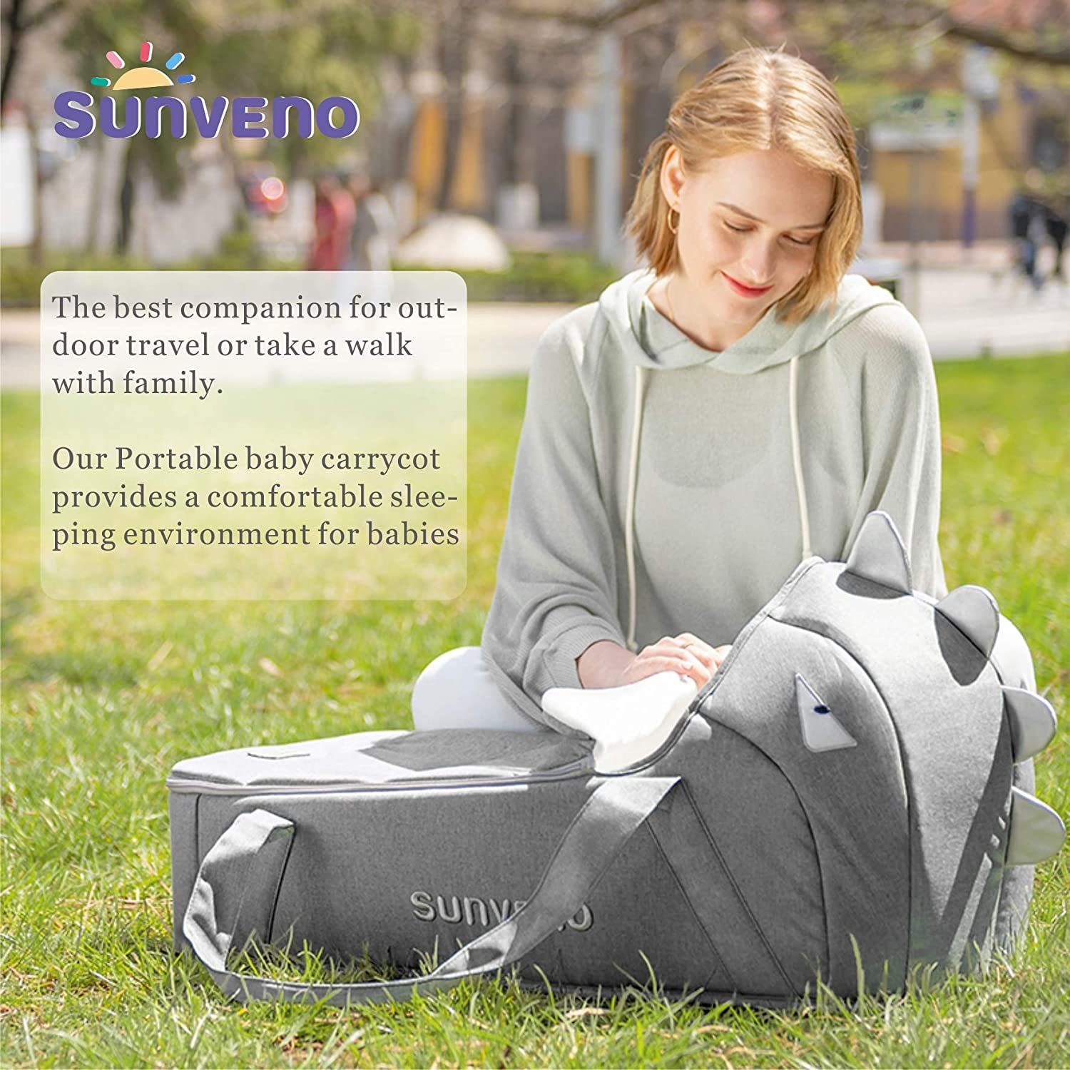 SUNVENO Baby Bed Baby Lounger, Moses Basket Bassinet Bedside Sleeper Newborn Infant Travel Bed Carrycot for 0-12 Months Gray