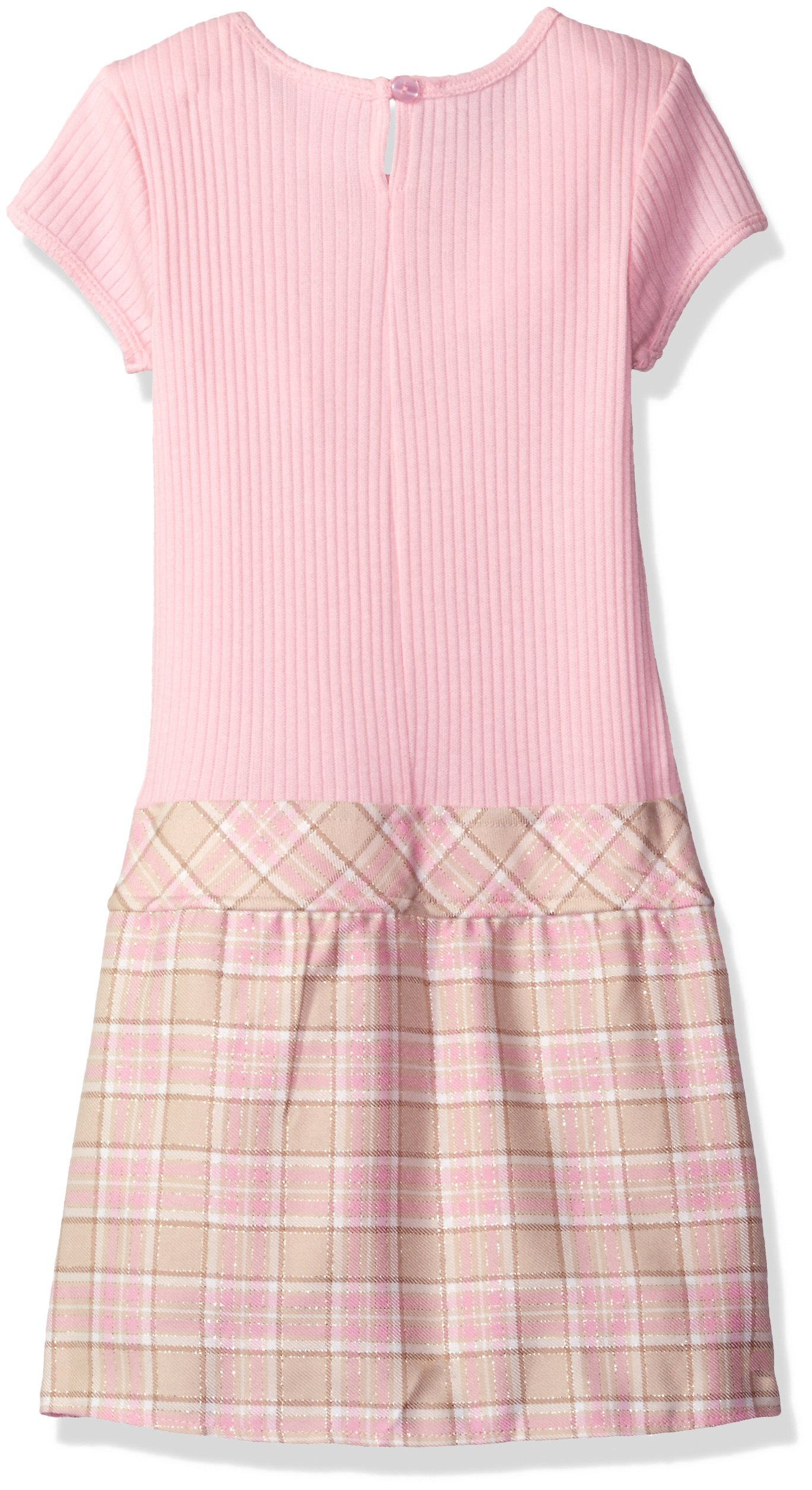 Youngland Little Girls' Woven Plaid Coat with Faux Fur Trim and Pink Knit to Woven Plaid Dress, Pink/Tan, 4 by Youngland (Image #2)