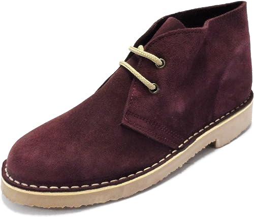Mens Retro Desert Boots (Burgundy