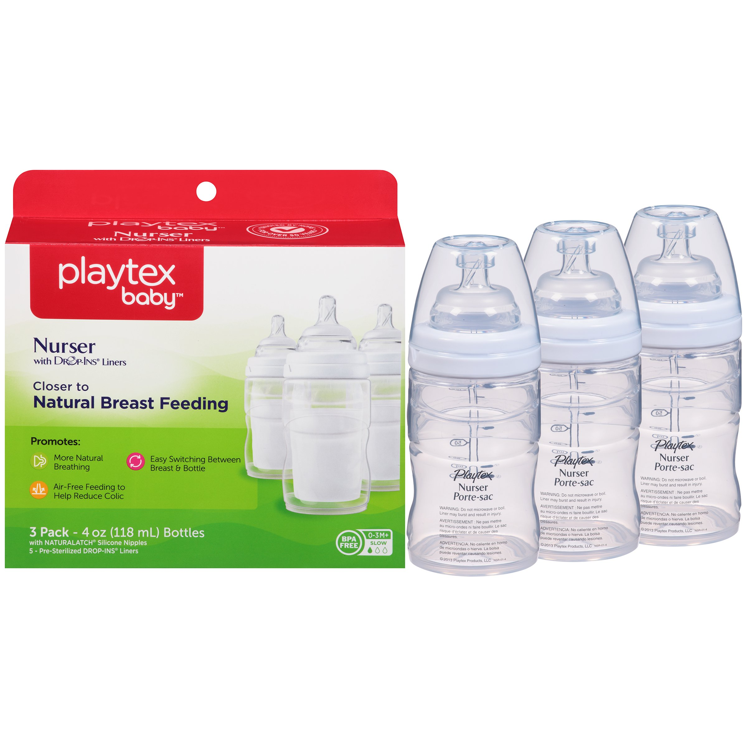Playtex Baby Nurser Baby Bottle with Drop-Ins Disposable Liners, Closer to Breastfeeding, 4 Ounce - 3 Pack