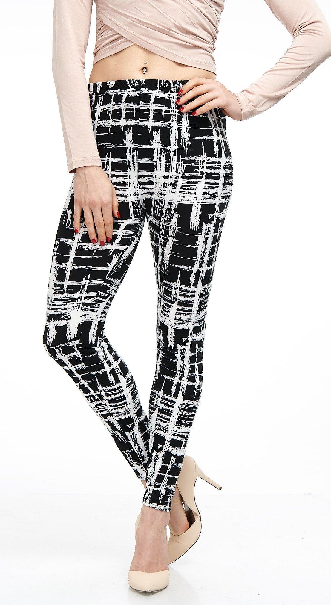 LMB Lush Moda Extra Soft Leggings with Designs- Variety of Prints - 720F Black White Stripes B5 by LMB (Image #4)