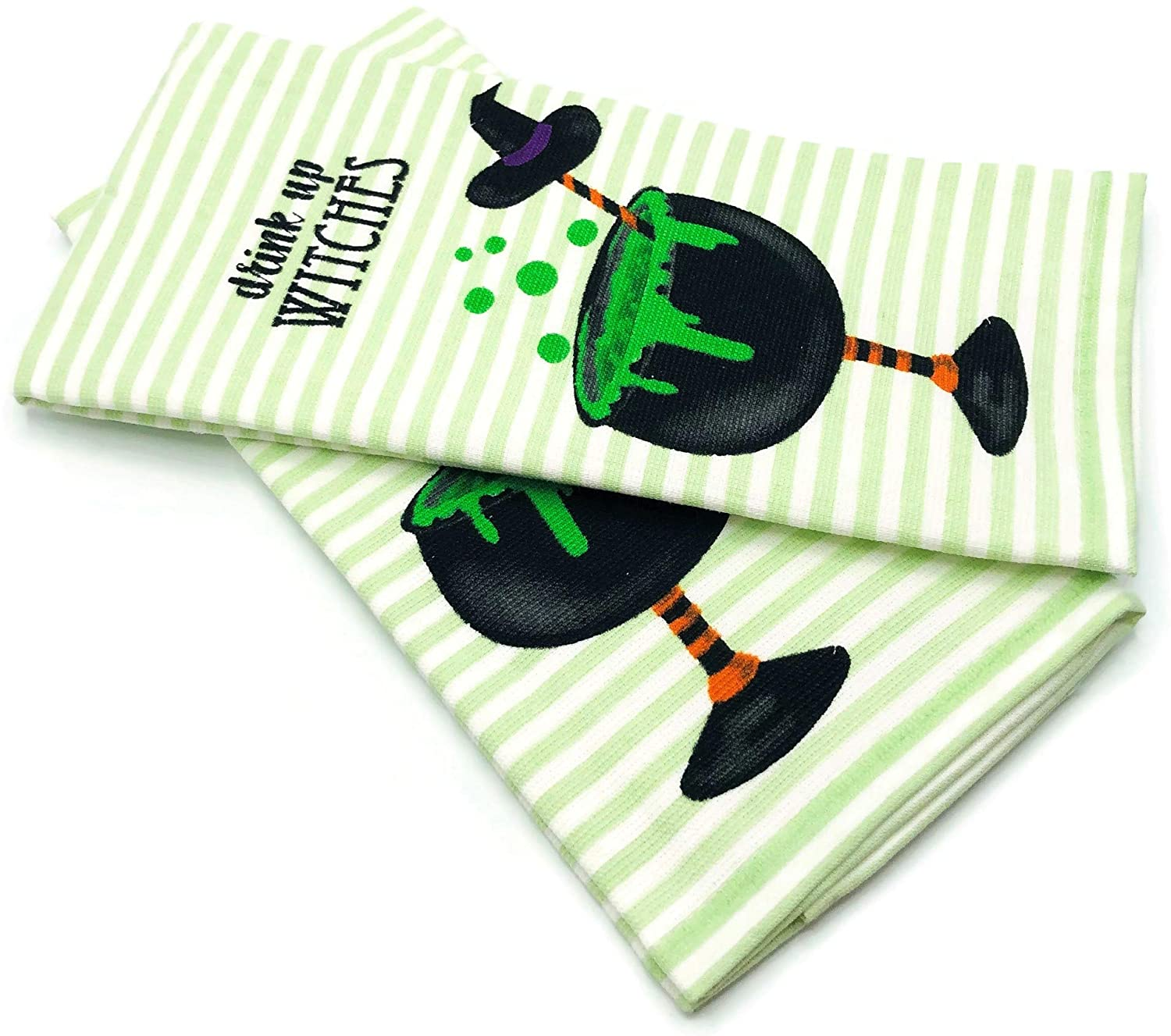 Isaac Mizrahi New York Drink Up Witches Spooky Cocktail Witches Brew Halloween Kitchen Towel Set Soft Cotton Dishtowels