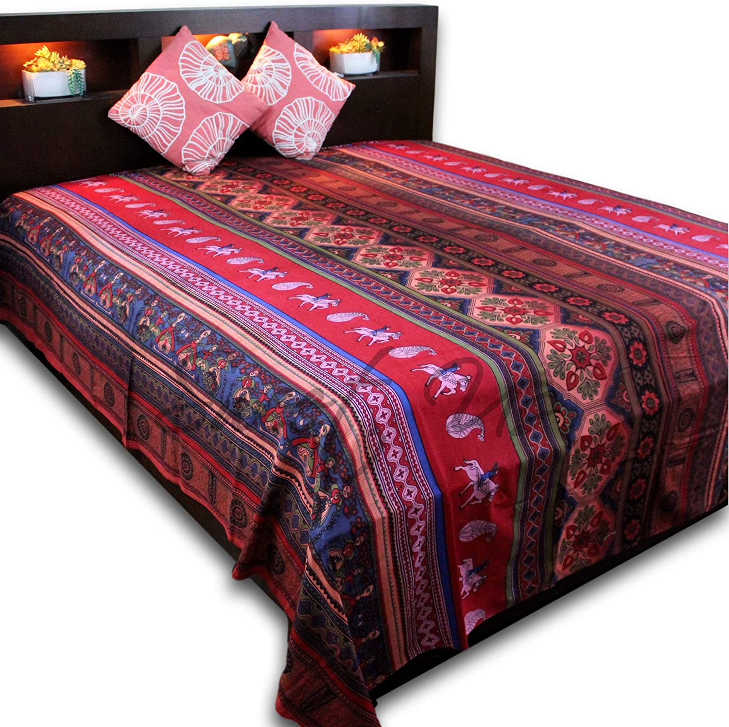 Cotton Kalamkari Tie Dye Tapestry Wall Hanging Bedspread Full Tablecloth Rectangular Beach sheet Bed-sheet Dorm Decor Red (Red, Full 88 x 106 inches)
