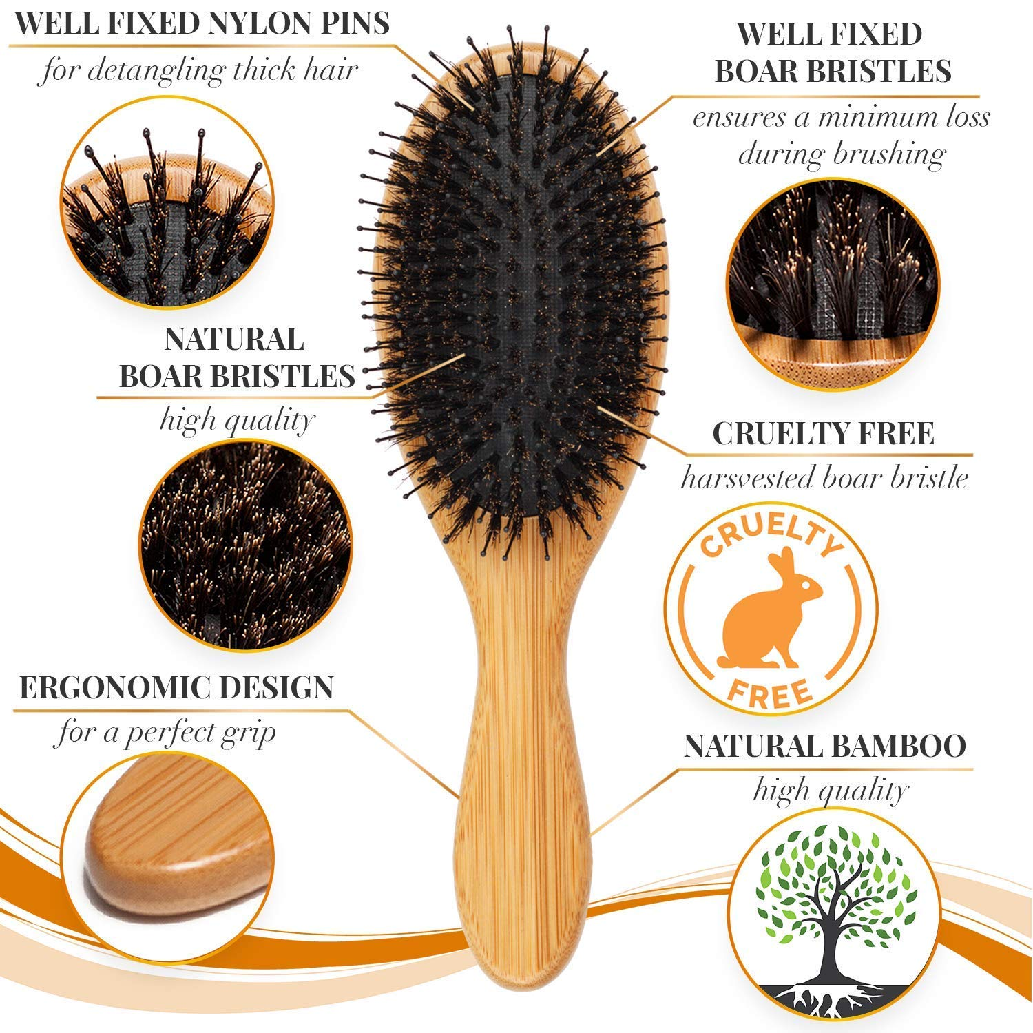 Wooden handled hair brush