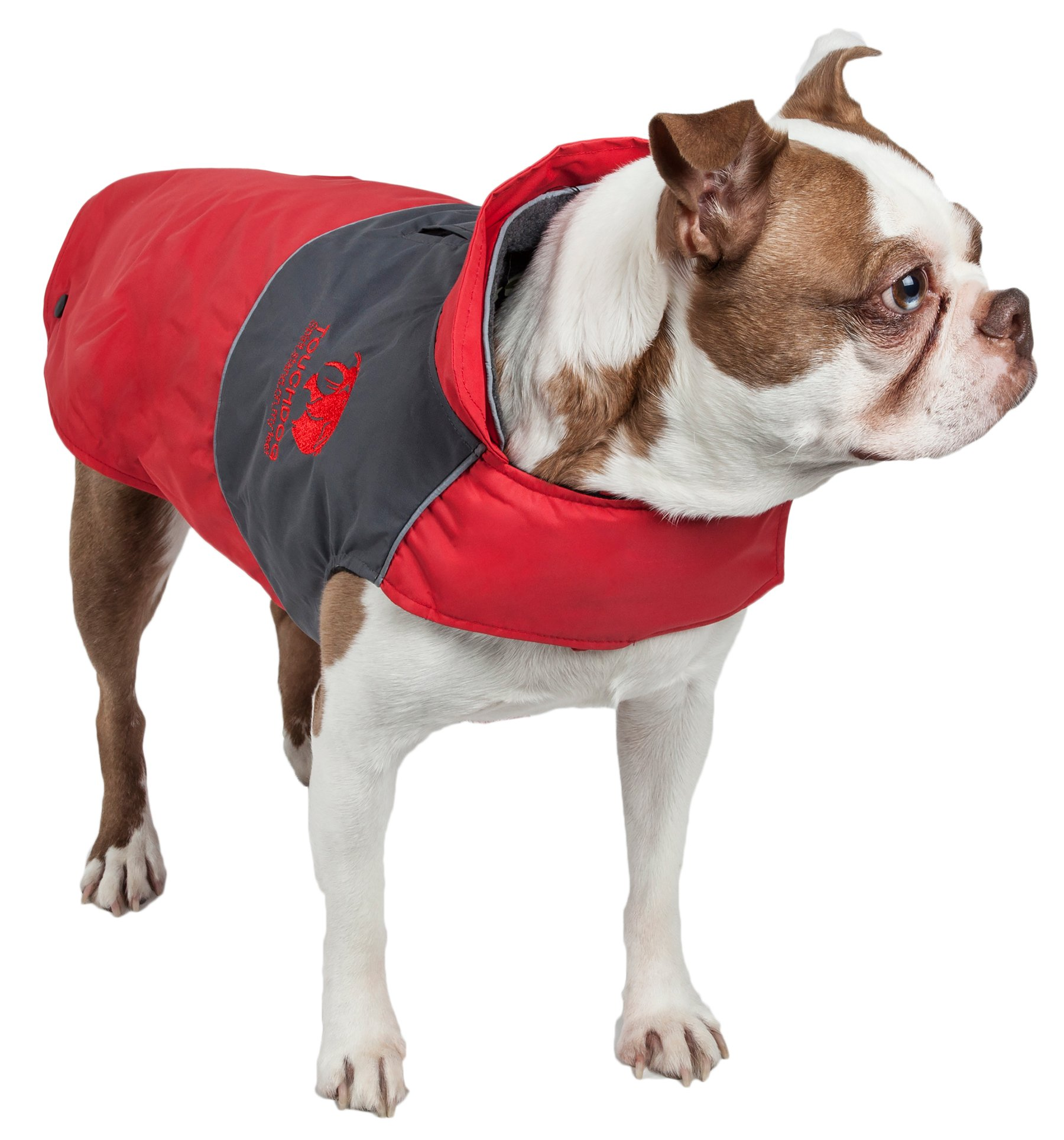 touchdog Lightening-Shield' Waterproof 2-in-1 with Removable Polar Fleece Lining Pet Dog Coat Jacket w/Blackshark Technology, X-Large, Red, Charcoal Black