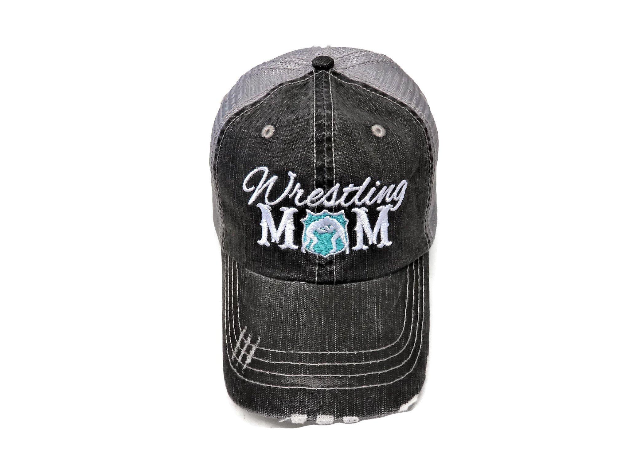 Spirit Caps Embroidered Wrestling Mom Distressed Grey Trucker Cap Hat Mint by Spirit Caps