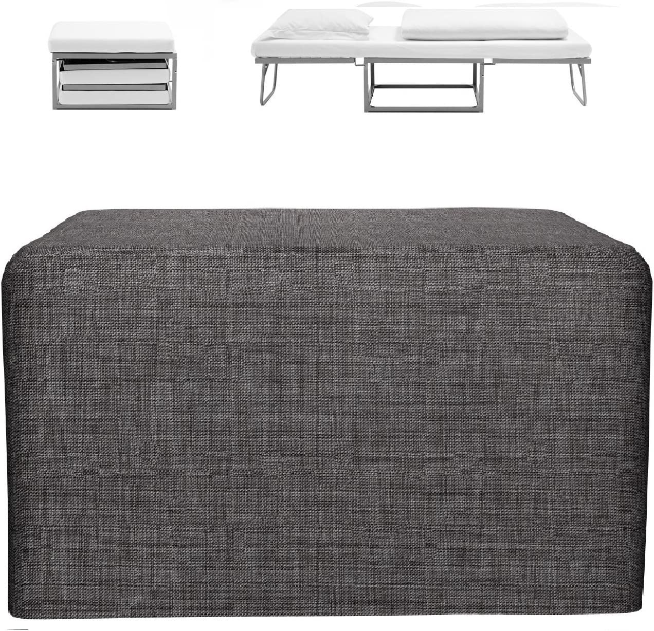 - BED IN A CUBE - 3 In 1 - COMPACT FOLDING SINGLE SOFA GUEST BED, FOOTSTOOL &  SEAT (Grey): Amazon.co.uk: Kitchen & Home