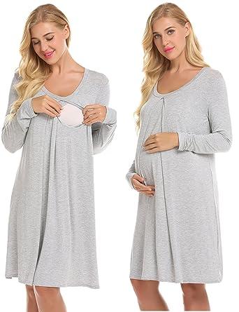 081c393f828cd Ekouaer Nursing Nightgown Nightdress Hospital Gown Delivery/Labor/Maternity/ Pregnancy Soft Breastfeeding Dress