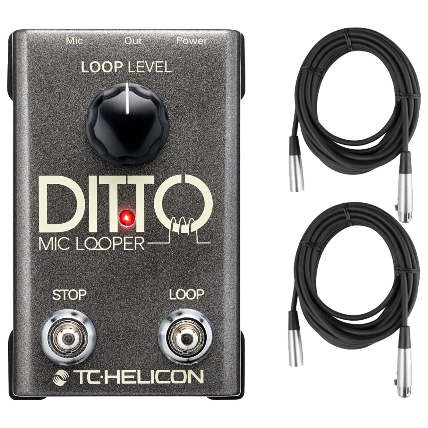 TC-Helicon 996365005 Ditto Mic Looper Pedal for Electric Guitar with XLR Micrphone Cables Unknown 996365005 BUNDLE