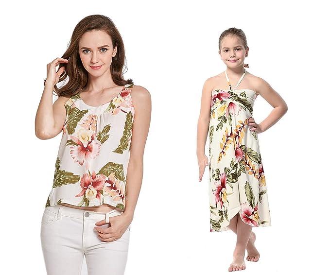 32c050c594 Mother   Daughter Matching Hawaii Luau Women Tank Top Girl Dress in Cream  Rafelsia L-