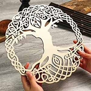 "Simurg 11.5"" Celtic Knot Tree of Life Wooden Wall Art Indoor and Outdoor Wall Hanging Sculpture"