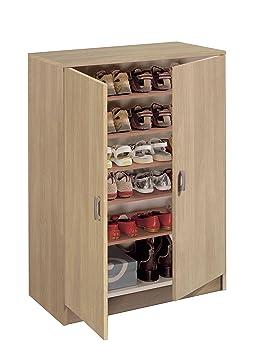 armario auxiliar zapatero multiusos roble estantes regulables puertas para cocina oficina o
