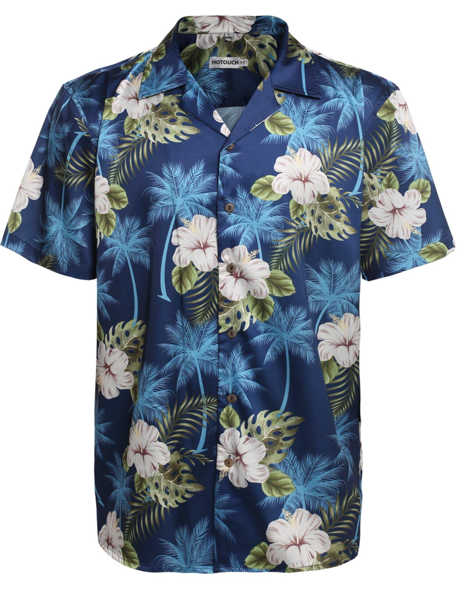 HOTOUCH Mens Hibiscus Shirt Aloha Hawaiian Shirt Navy Blue L