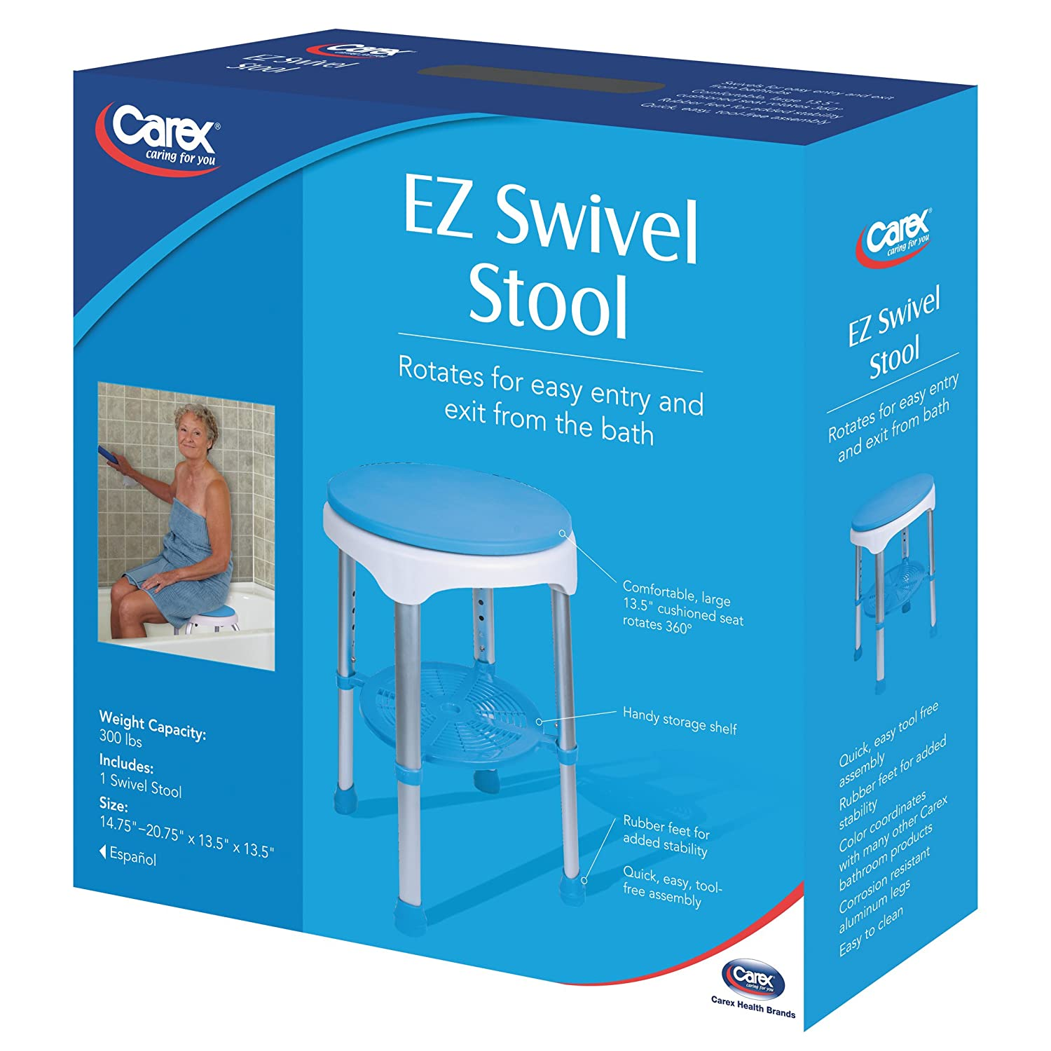 Amazon.com: Carex EZ Swivel Stool, 7 Pounds, for Assistance in Bath ...