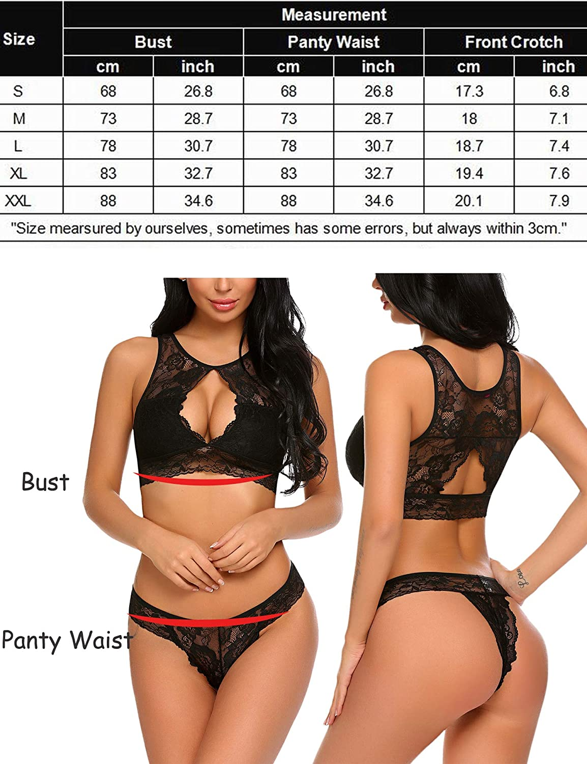 ADOME Women Sexy Lingerie 2 Piece Lace Babydoll Bra and Panty Sets Mini Sleepwear at  Women's Clothing store