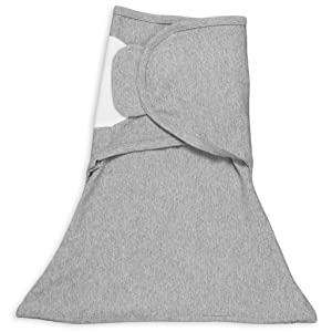 SleepingBaby Zippy Swaddle - Baby Swaddle Blanket with Bottom Zipper, Cozy Baby Swaddle Wrap and Baby Sleep Sack (Small/Medium, Heather Grey)